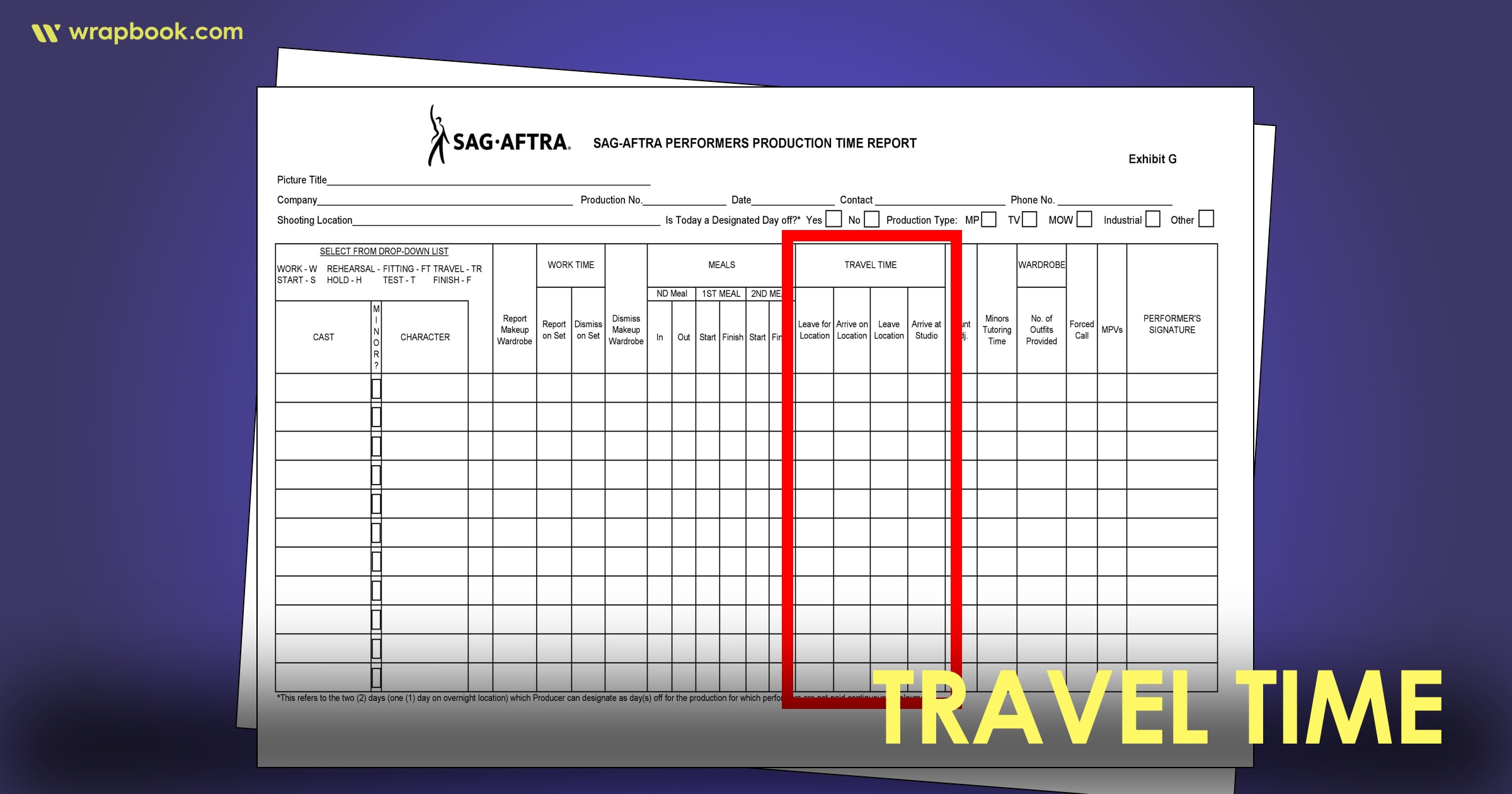 Travel Time - How to Fill Out The SAG Exhibit G Form