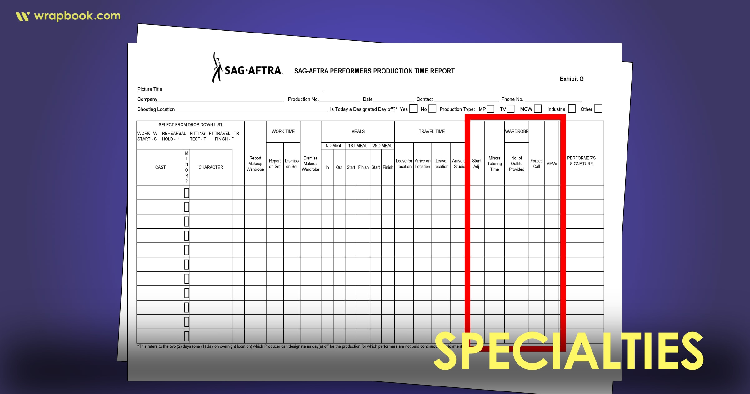 Specialties - How to Fill Out The SAG Exhibit G Form