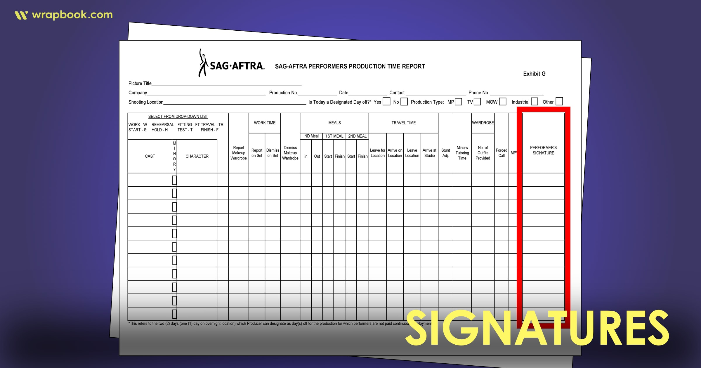 Signatures - How to Fill Out The SAG Exhibit G Form