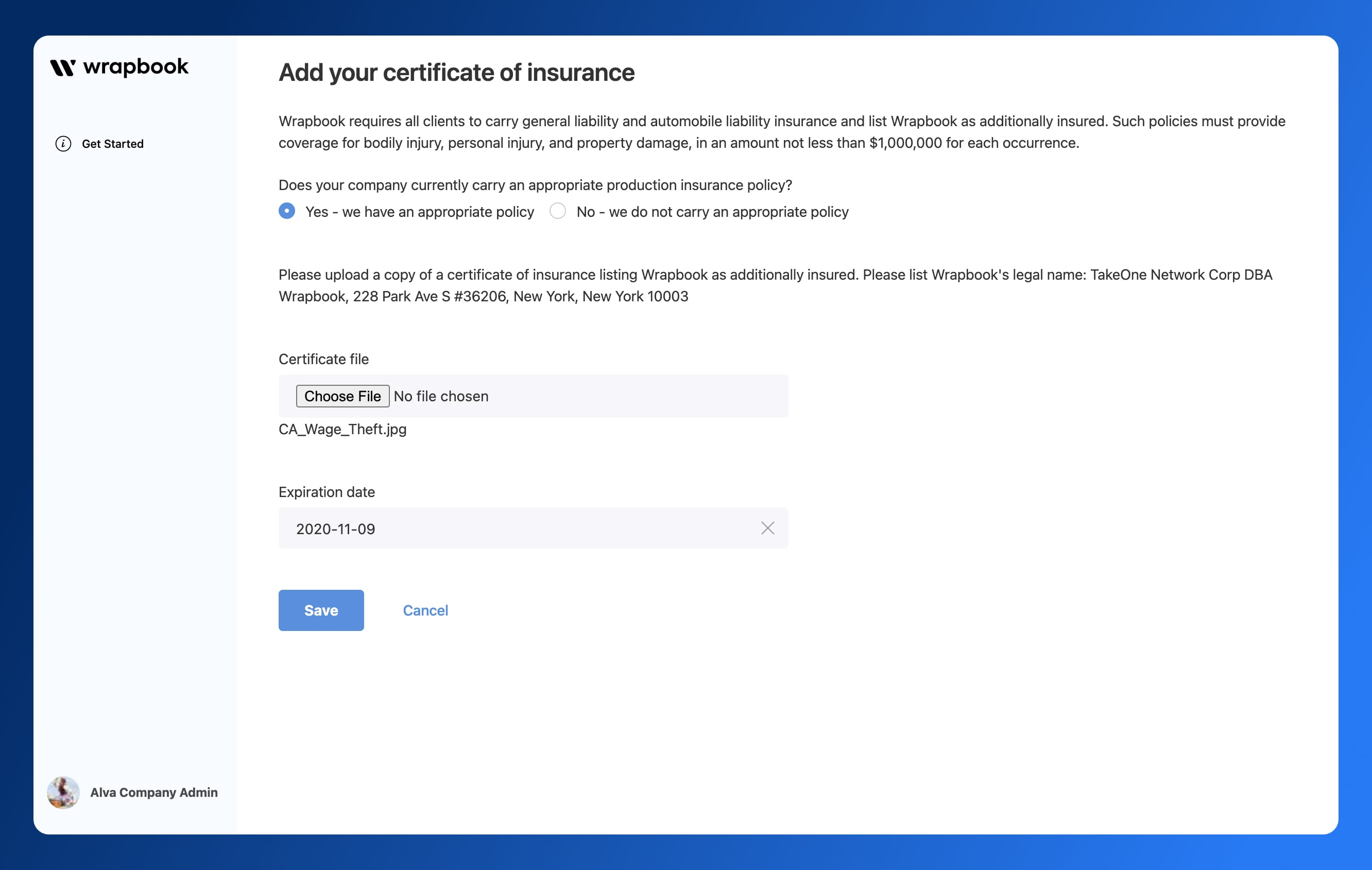 Certificates of Insurance - Add COI - Wrapbook