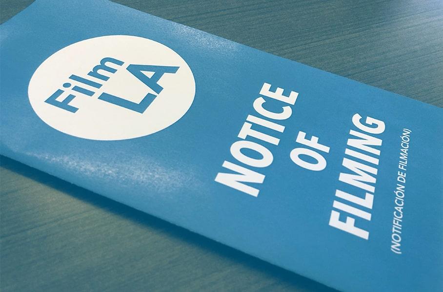 Los Angeles Film Permits - Notice of Filming - Film LA - Wrapbook