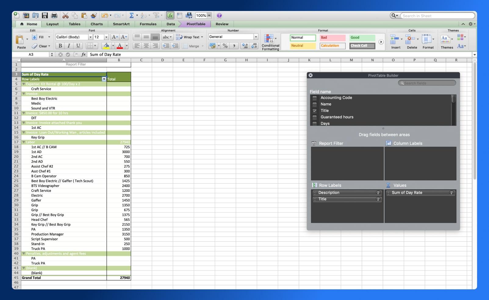 Wrap Report - Excel - Wrapbook