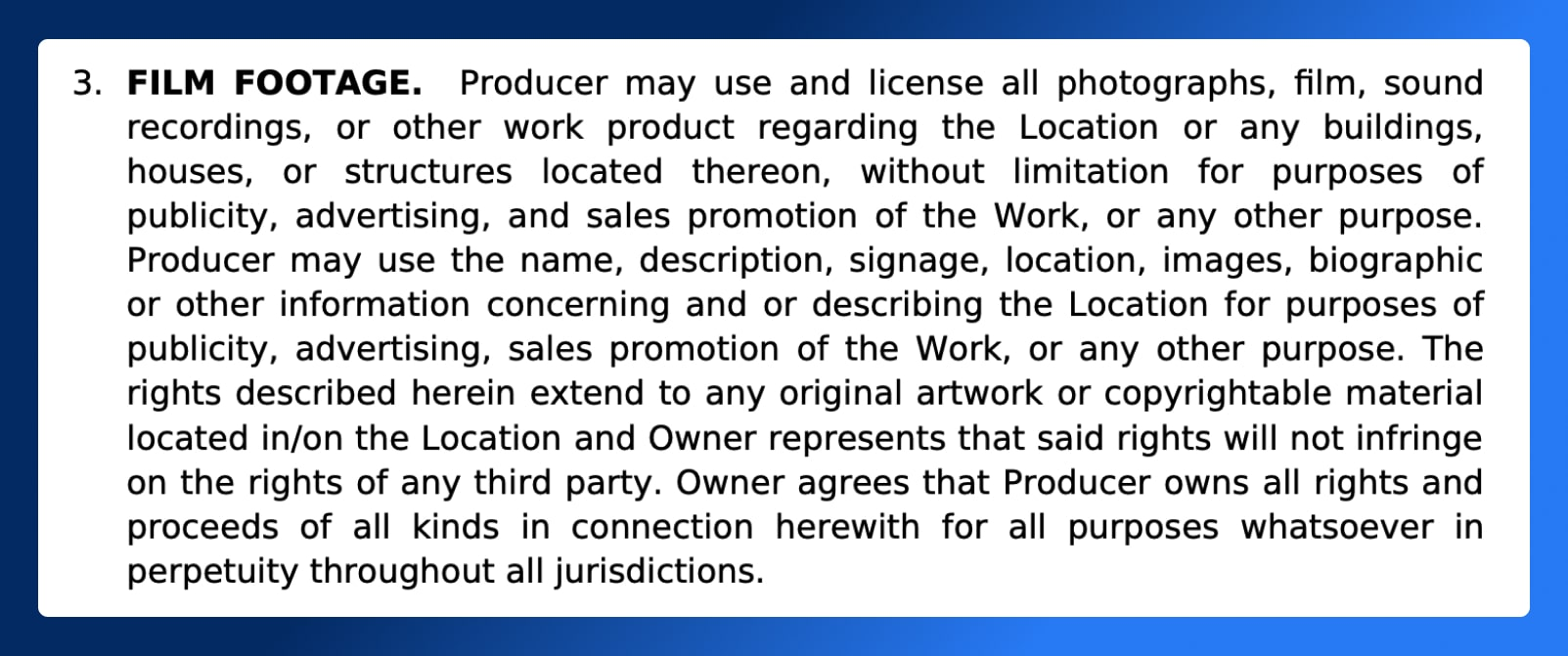 Location Release Form - Film Footage Section - Wrapbook