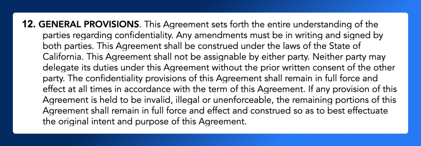 Non Disclosure Agreement - General Provisions - Wrapbook