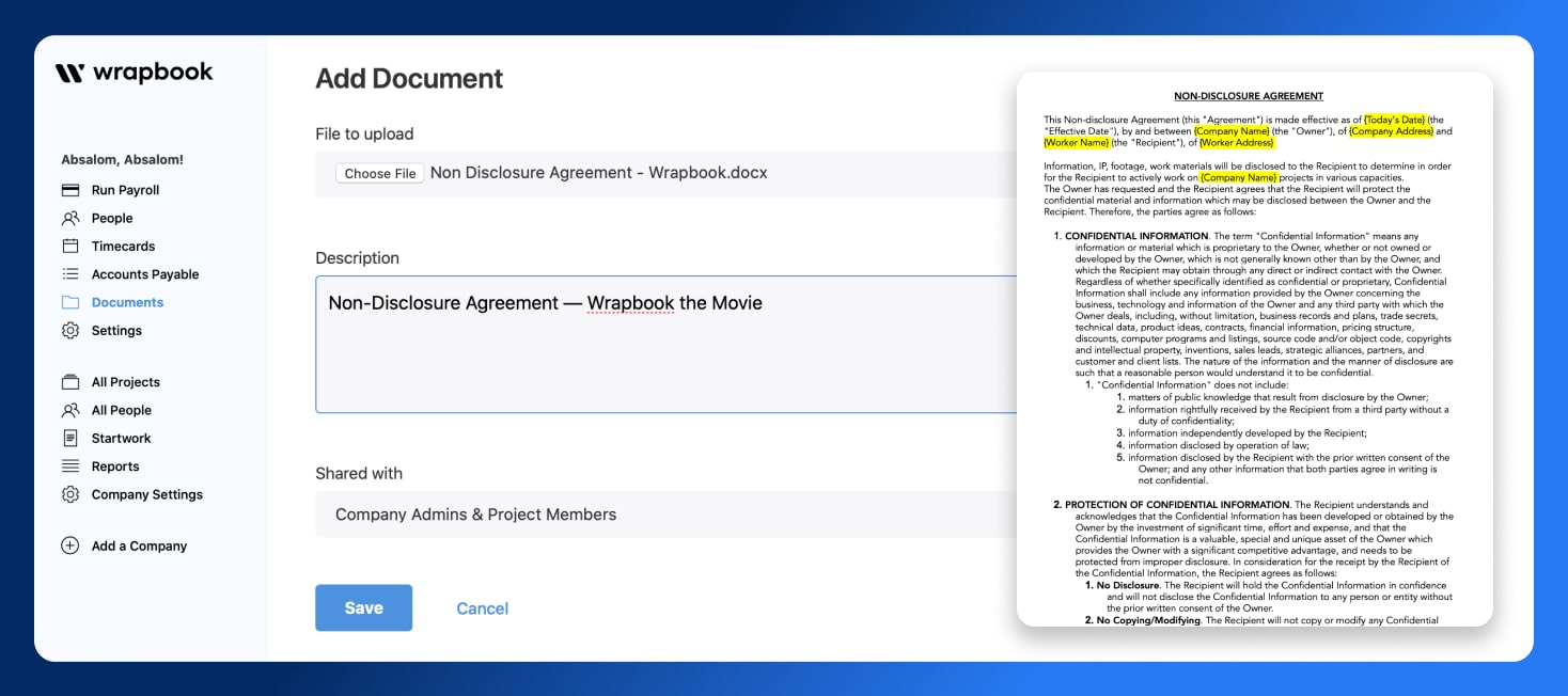 Non Disclosure Agreement - Send NDA - Wrapbook