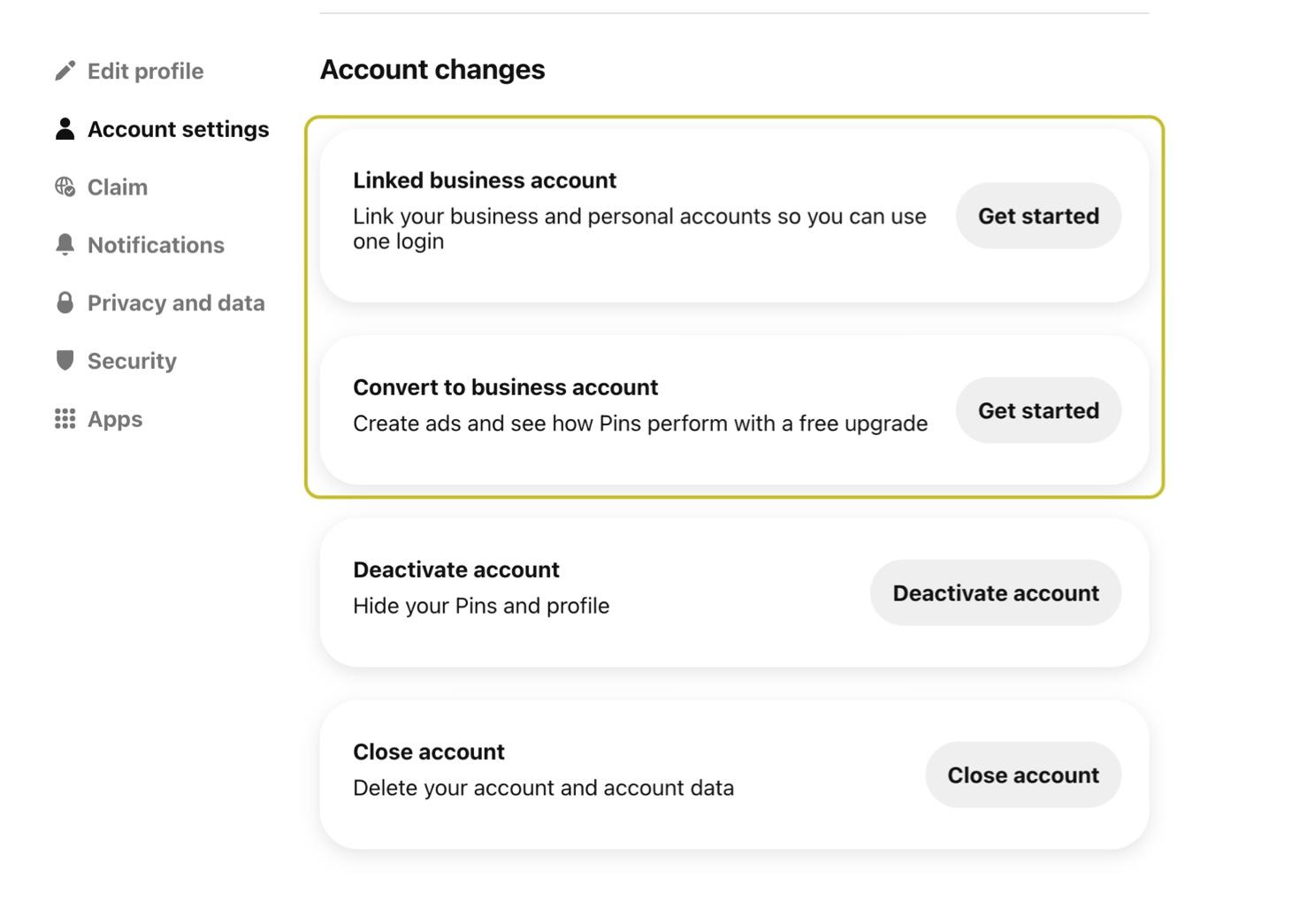 screenshot of Pinterest Account Settings