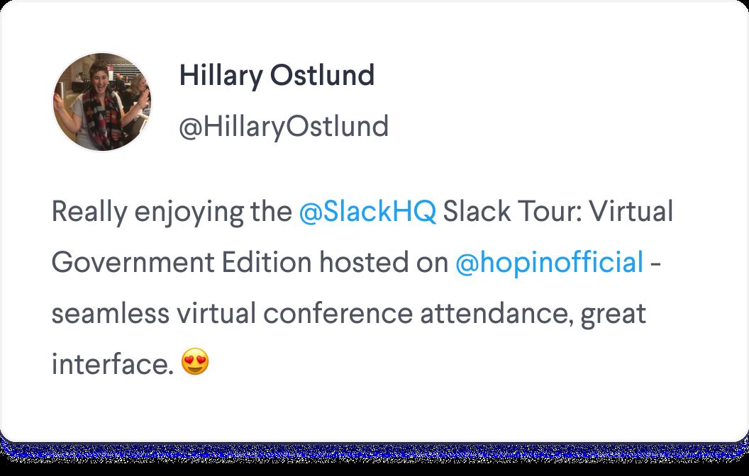 Slack Tour Hosted on Hopin Tweet Screenshot