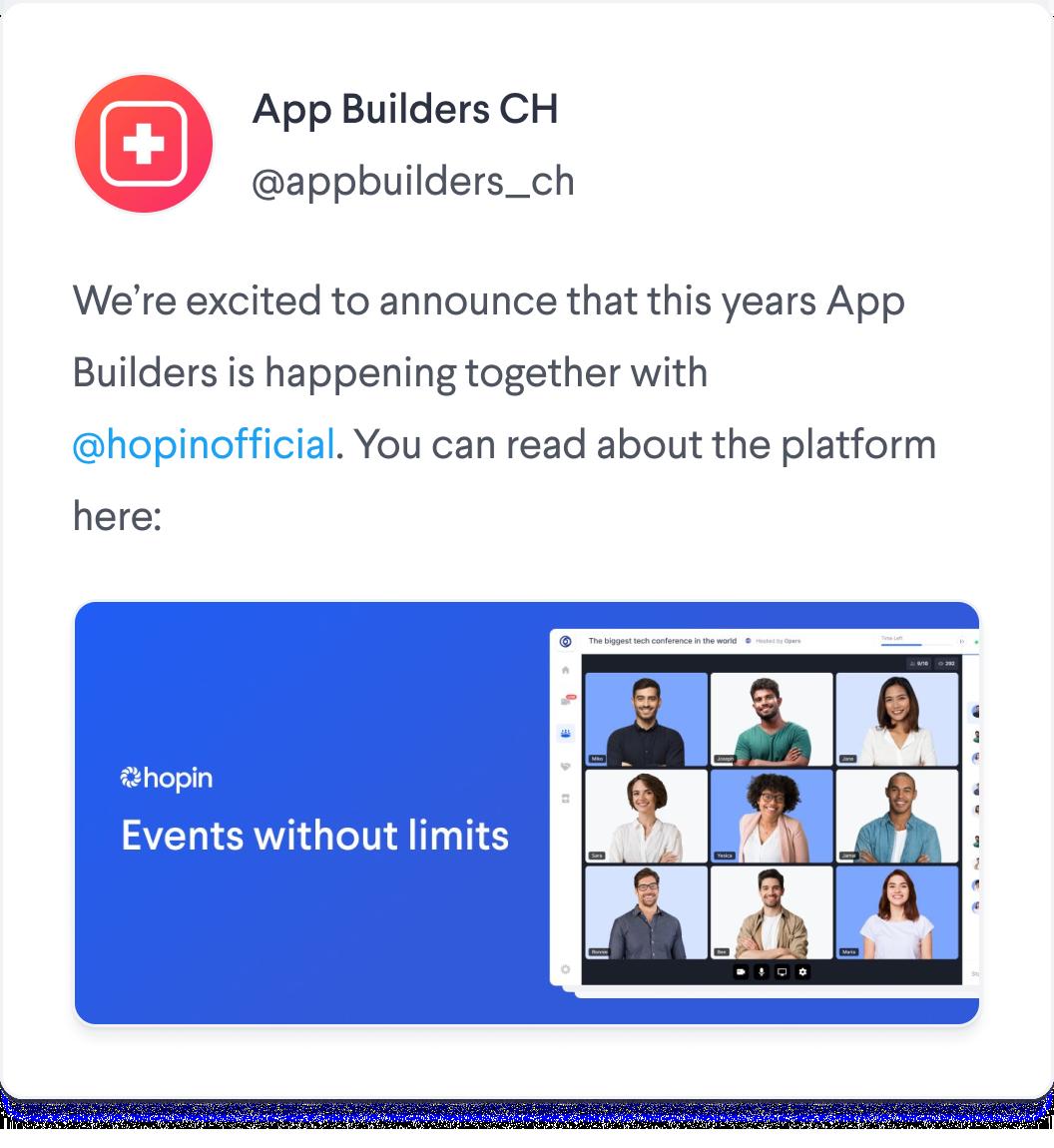 App Builders conference on Hopin Tweet Screenshot