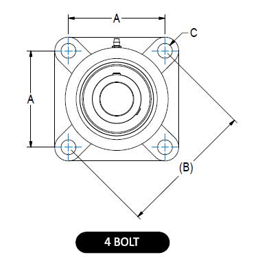4-bolt Flange Bearing Guard diagram