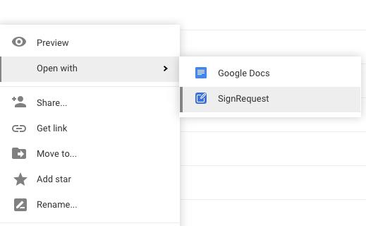 SignRequest add-on for Google Drive