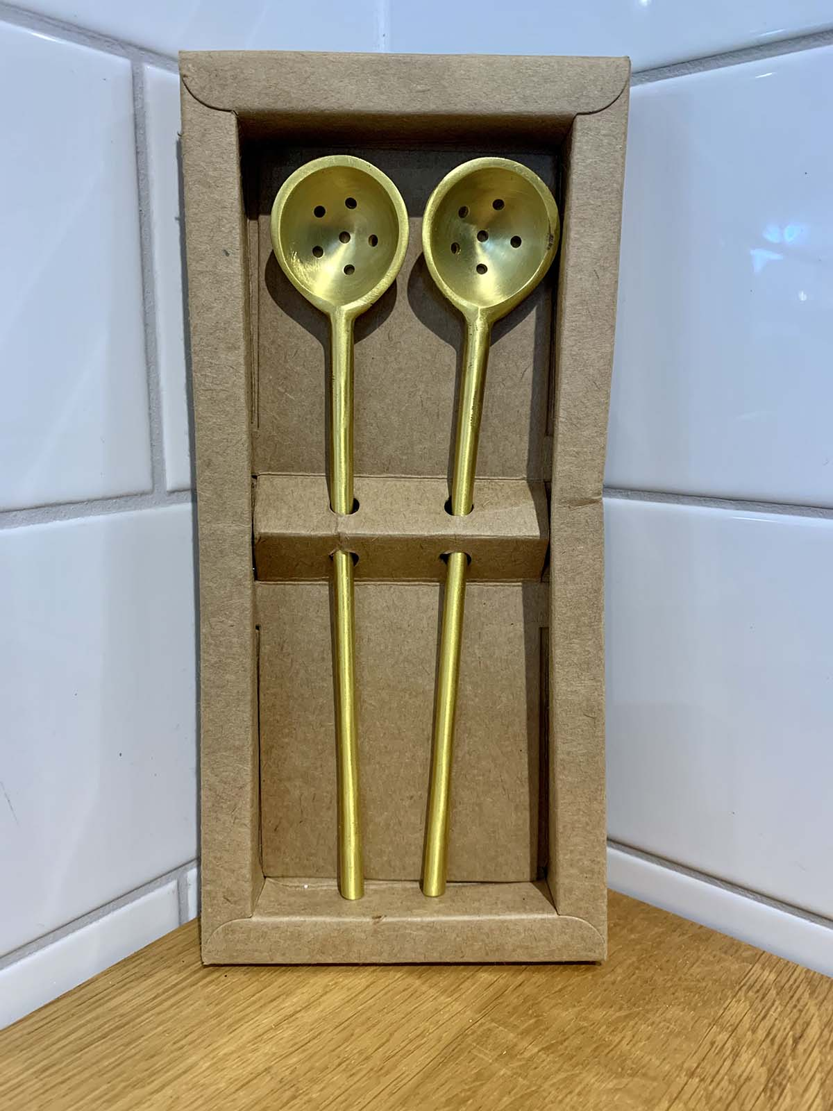 Brass Set of 2 Olive Spoons