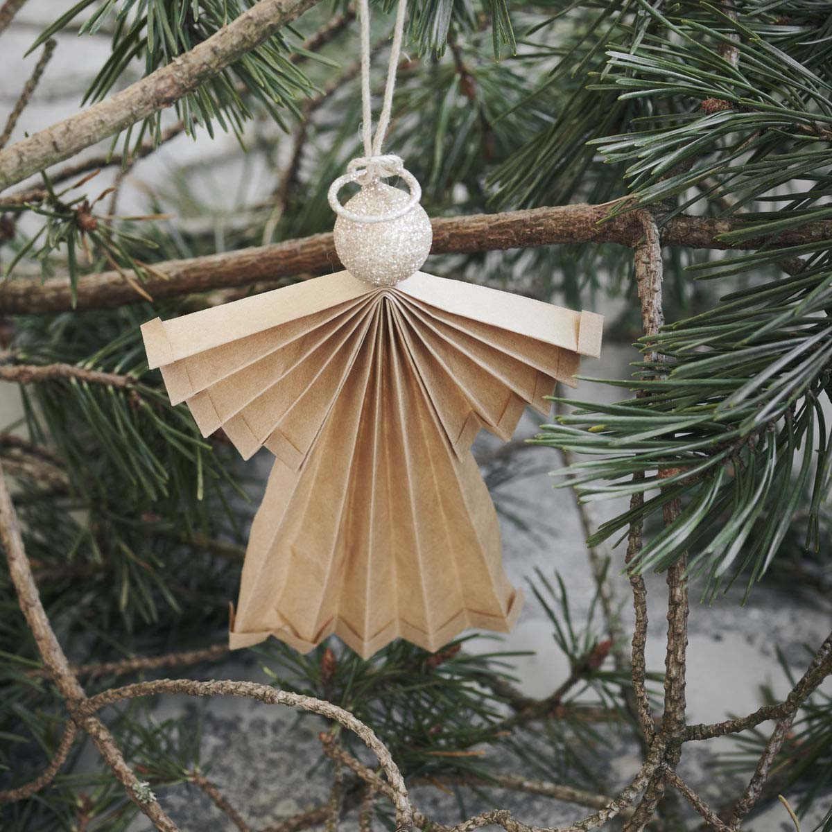 Angel Ornament, Natural, Medium