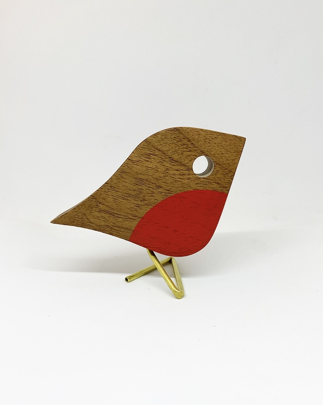 wooden robin with brass leg