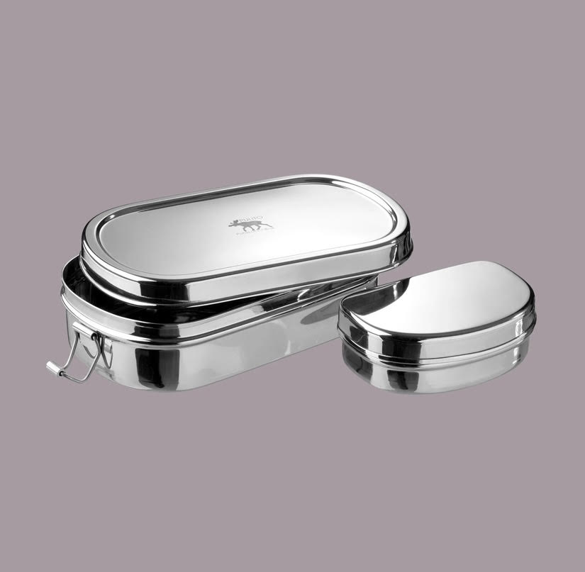 stainless steel lunch box with snack pot