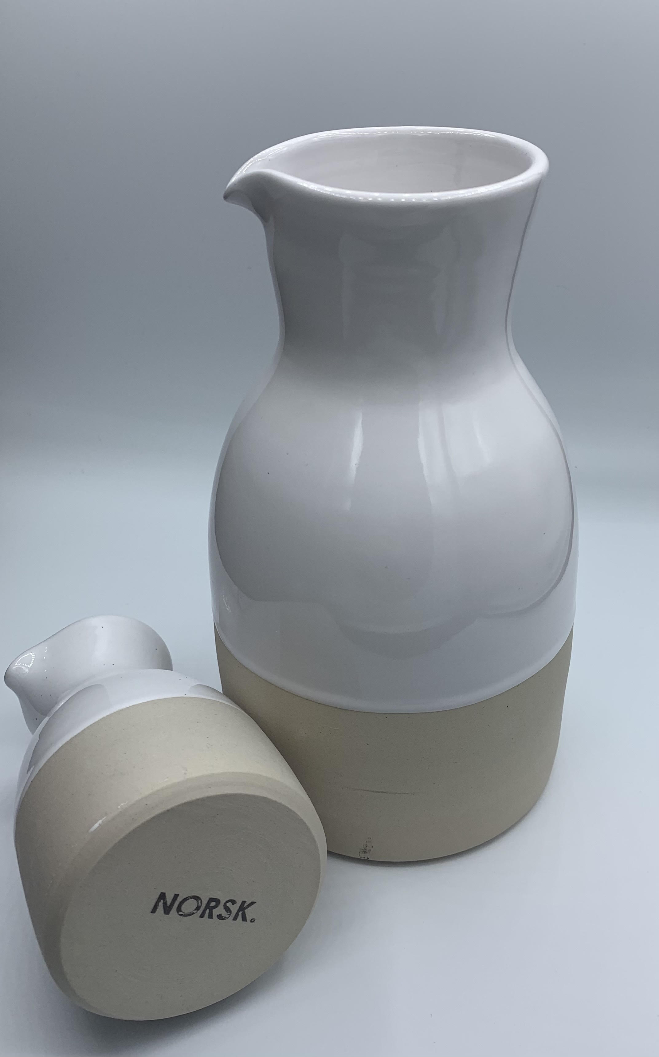 white ceramic norsk carafe