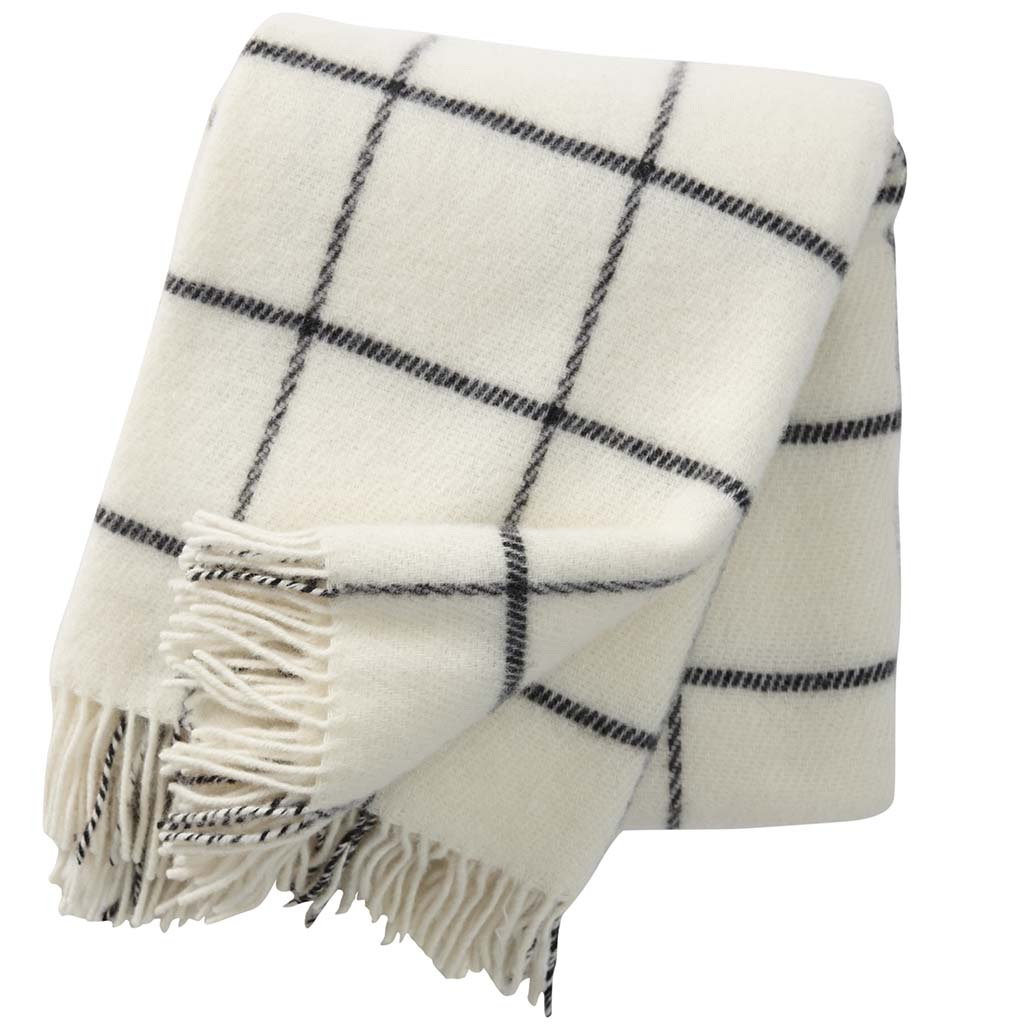 white and blue checked wool blanket