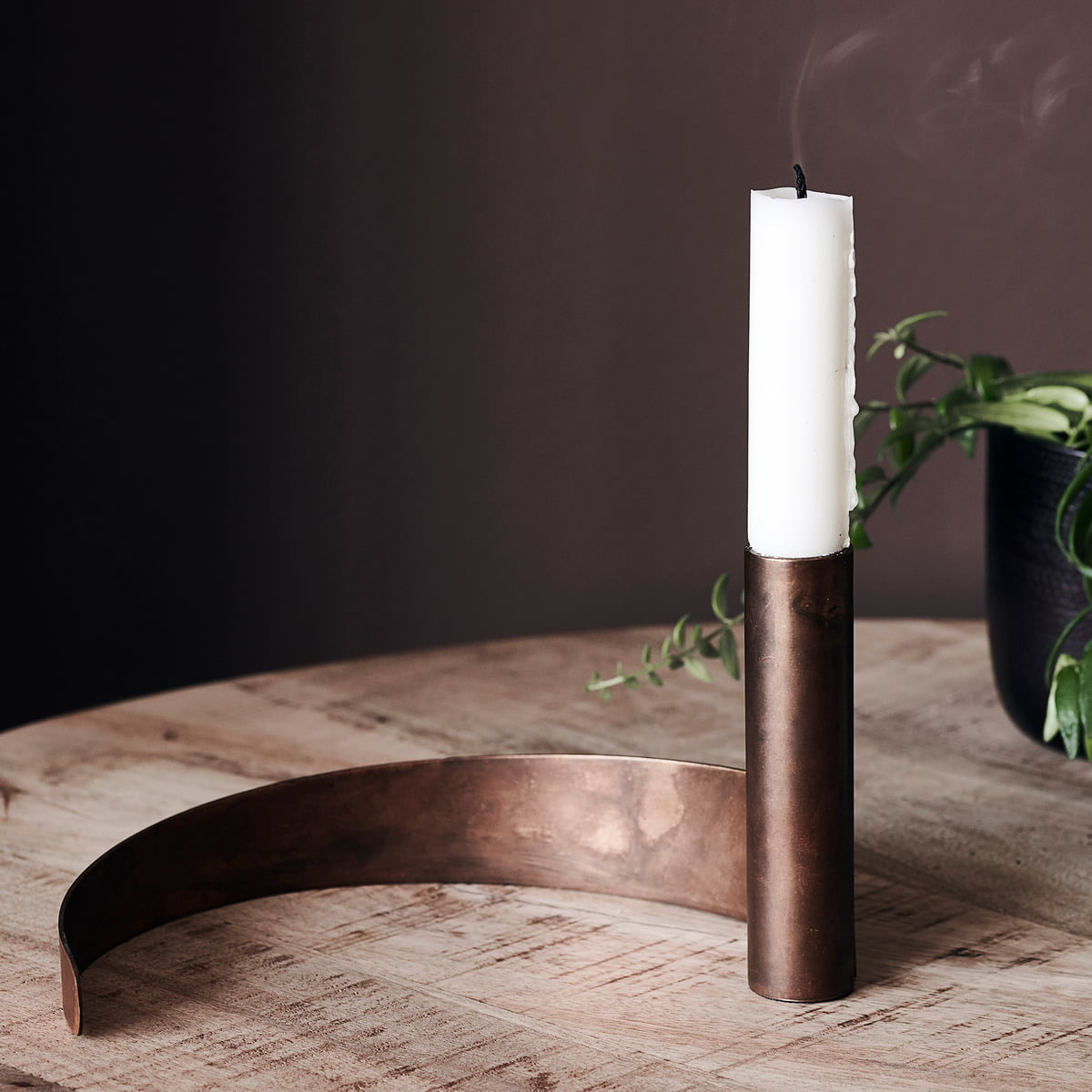 Brown Iron Candle Holder