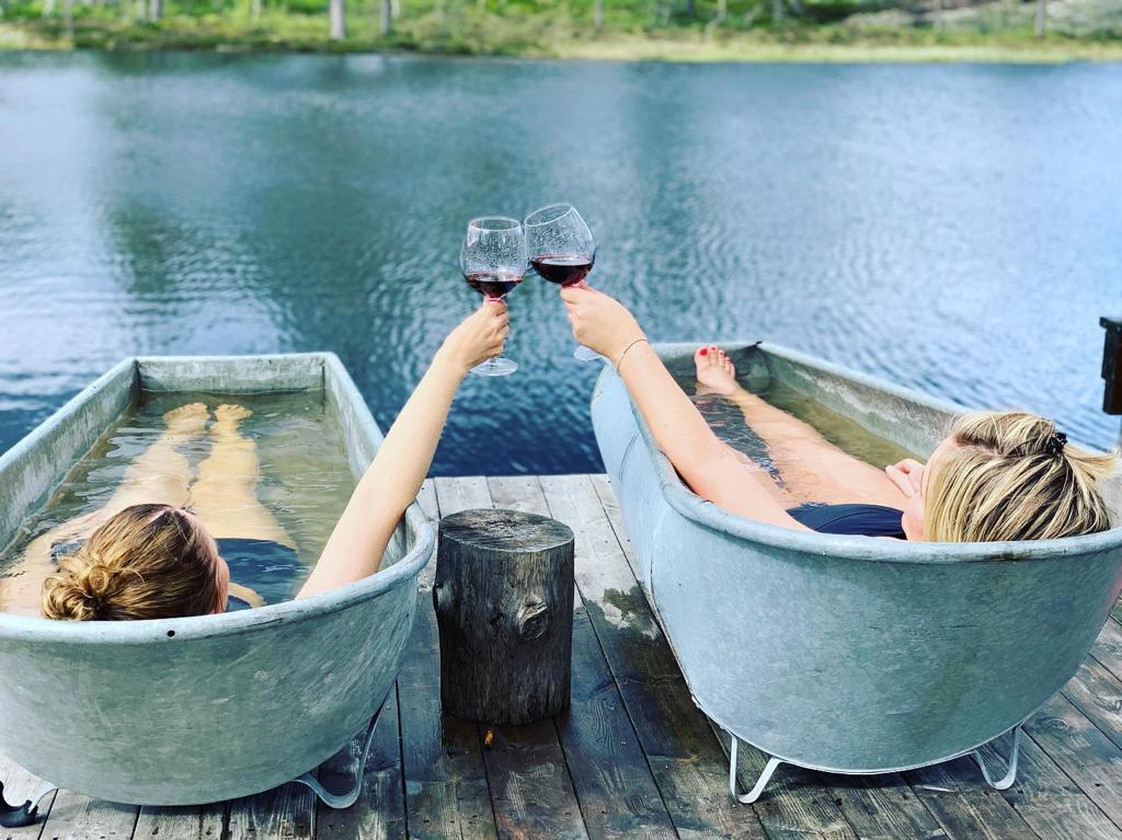 drinking wine in the baths in Telemark