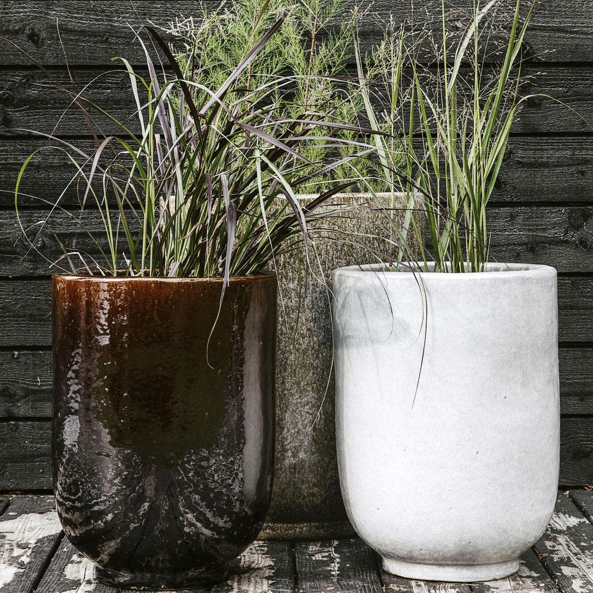 ceramic planter in grey