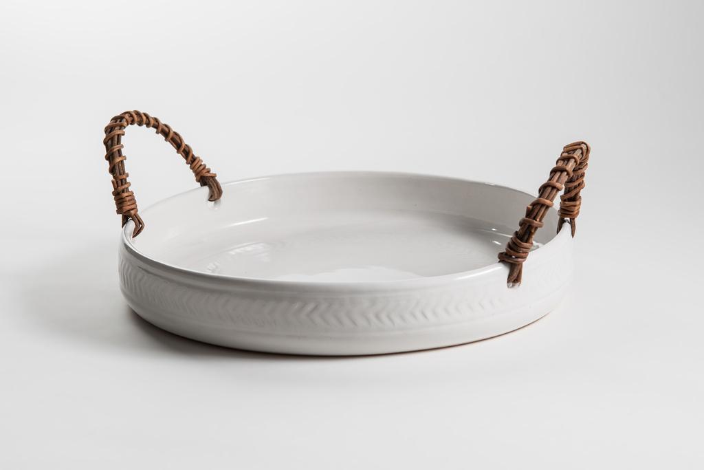 ceramic tray with akebia vine handles