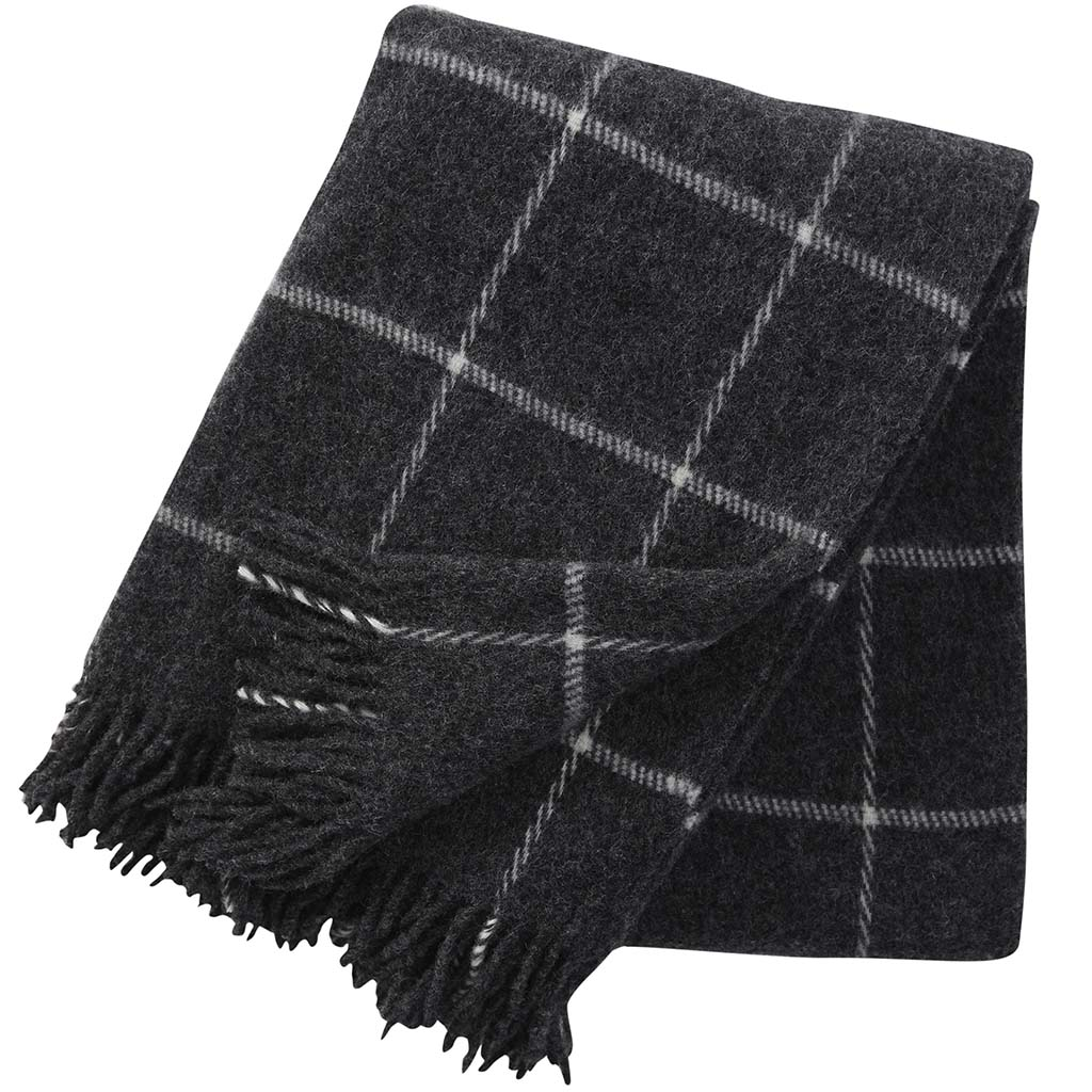 black and white checked wool blanket