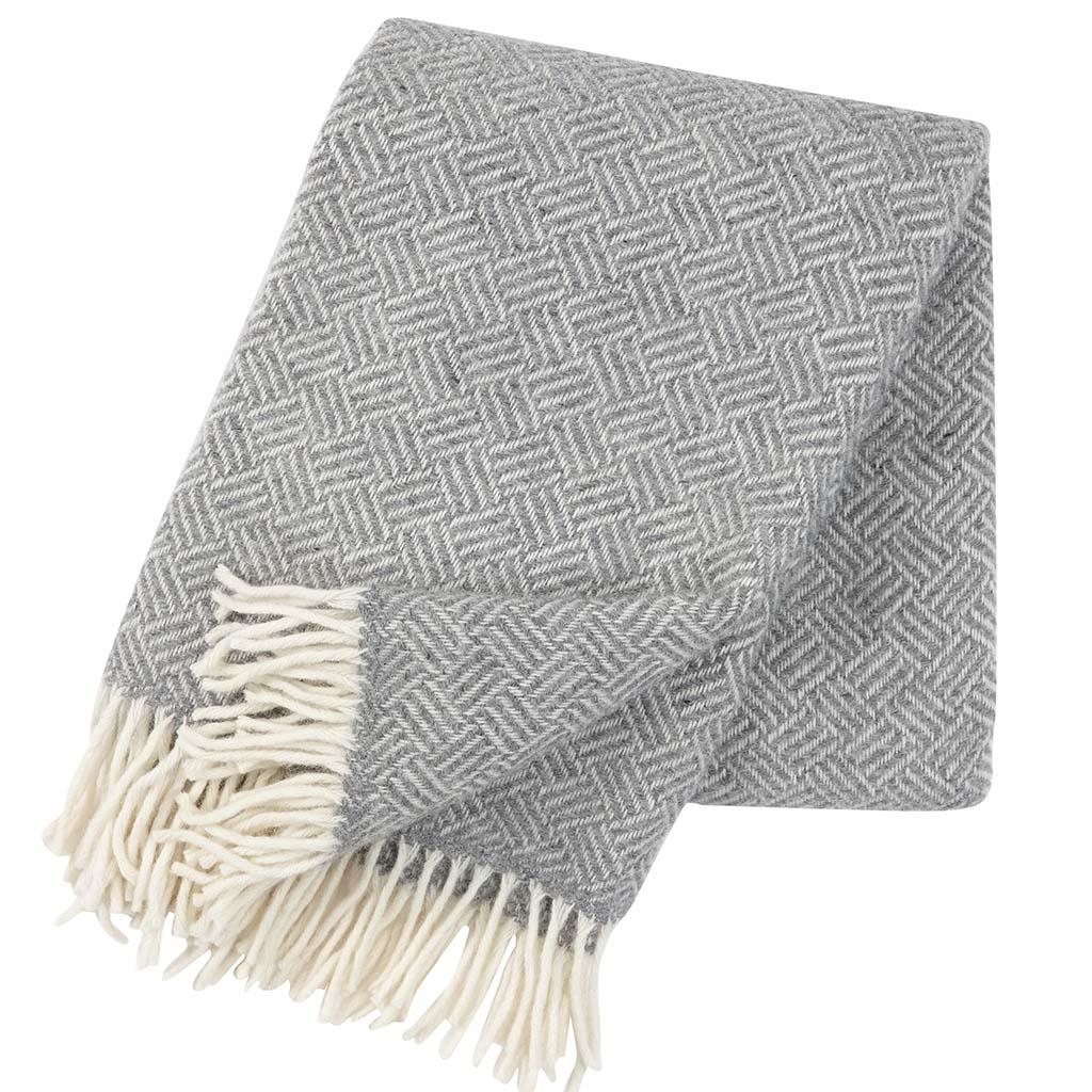 grey and white wool Blanket, Klippan