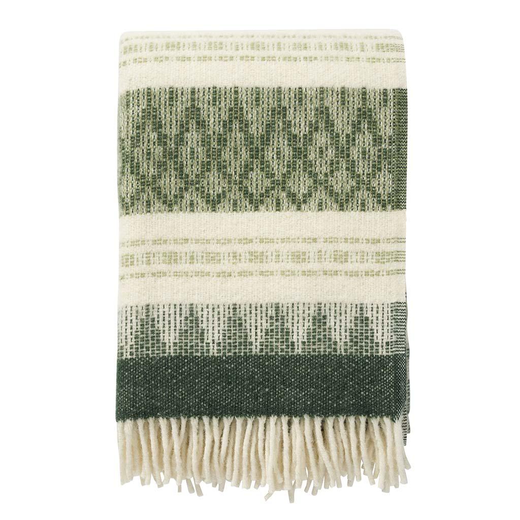 green and white wool Blanket, Klippan