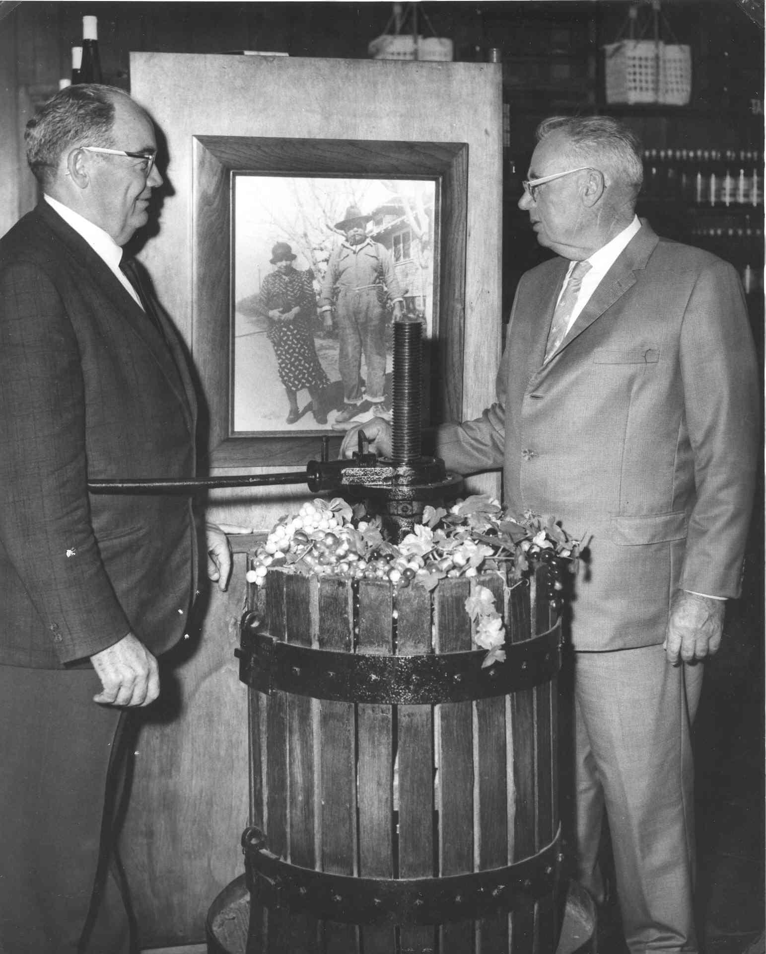 John and Joe with photo of Teresa and Guiseppe