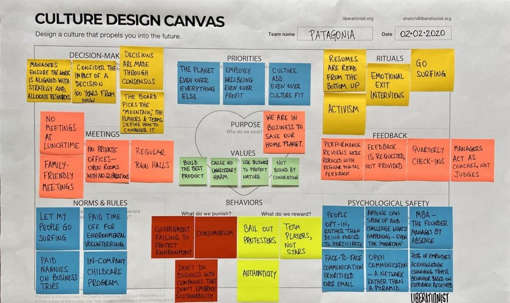 patagonia culture design canvas discover the outdoor clothing company culture in one page
