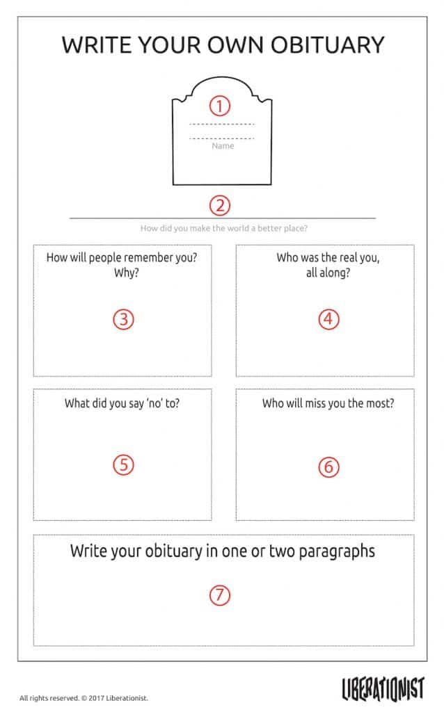 write your own obituary life purpose exercise and career purpose tool