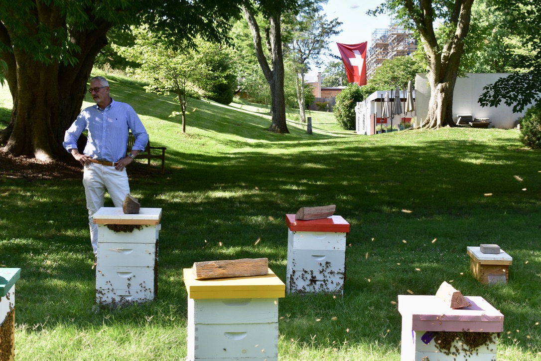 Swiss Ambassador Jacques Pitteloud surveys the hives he hosts on embassy grounds. Photo credit: Molly McCluskey