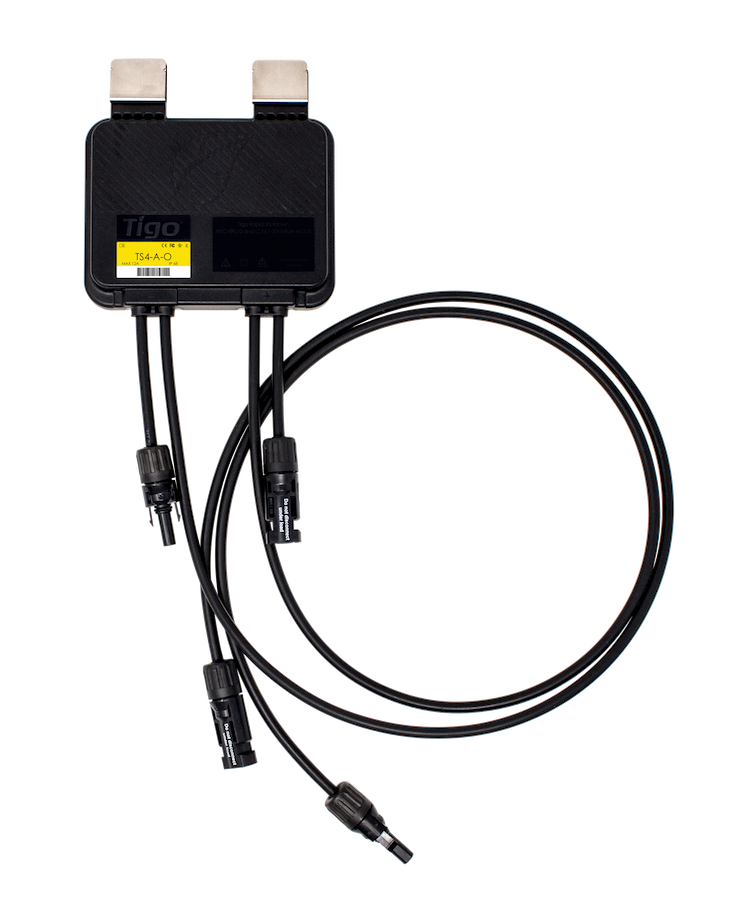 A picture of the Tigo TS4-A-O Flex MLPE optimizer for solar installations