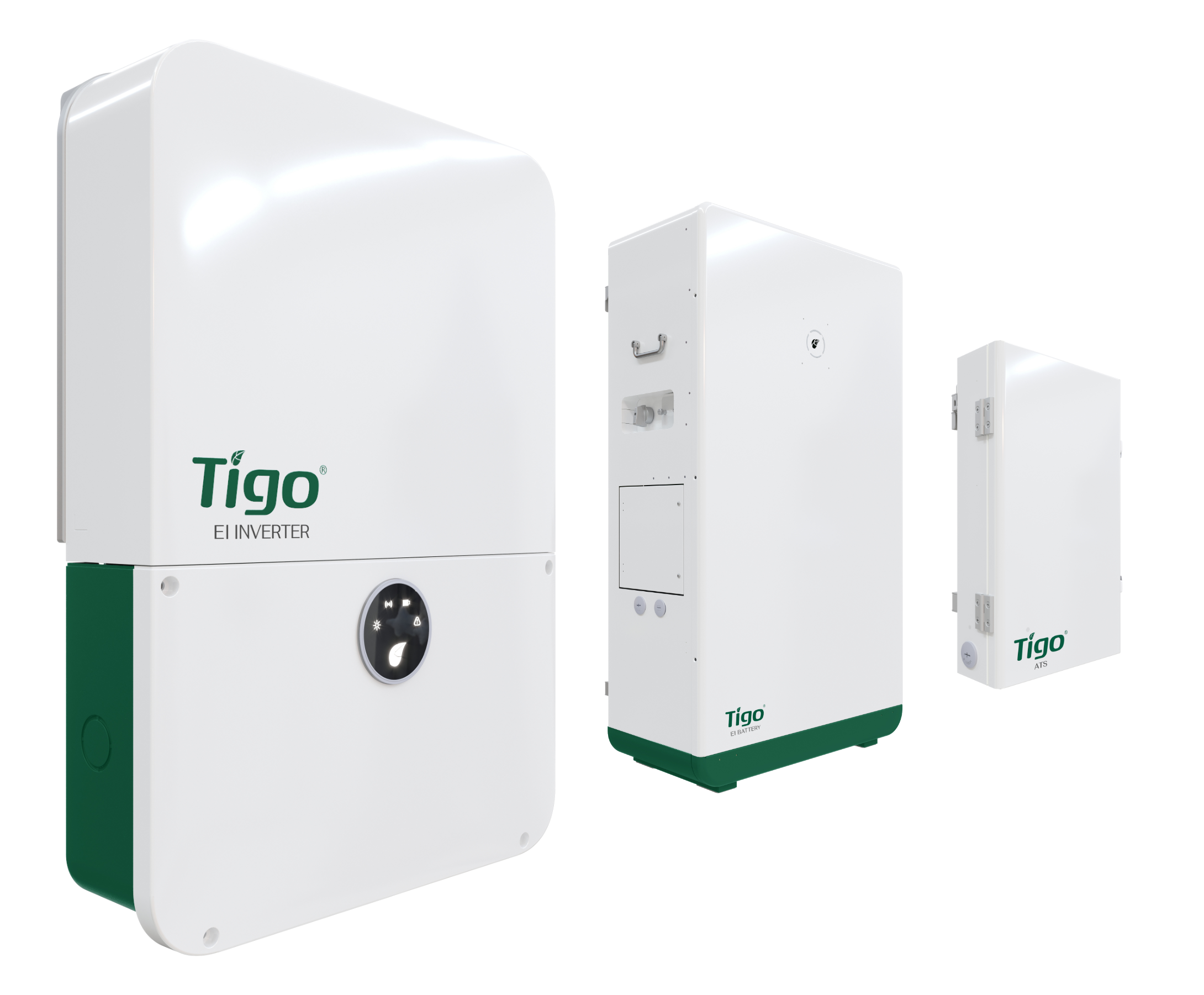 A picture of the Tigo EI Inverter, EI Battery, and ATS (Automatic Transfer Switch), which are all components of the Tigo EI Residential Solution
