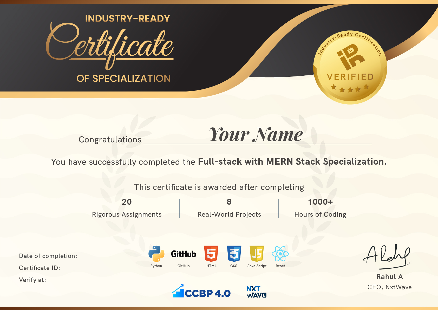 IRC Certification | NxtWave