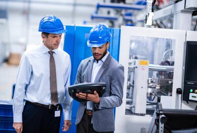 Invoice factoring workers blue helmet