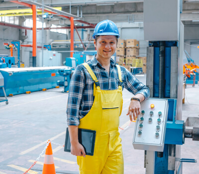 Male working in machinery