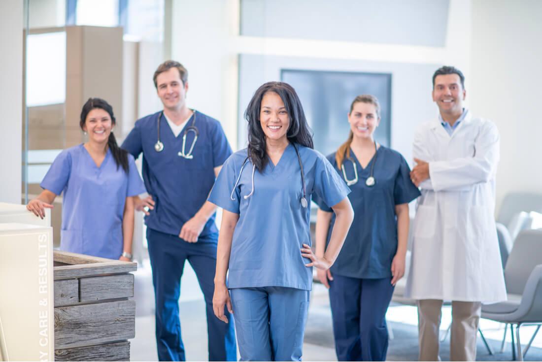 healthcare team in hospital clinic