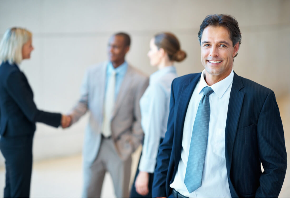 Experienced confident businessman accounting