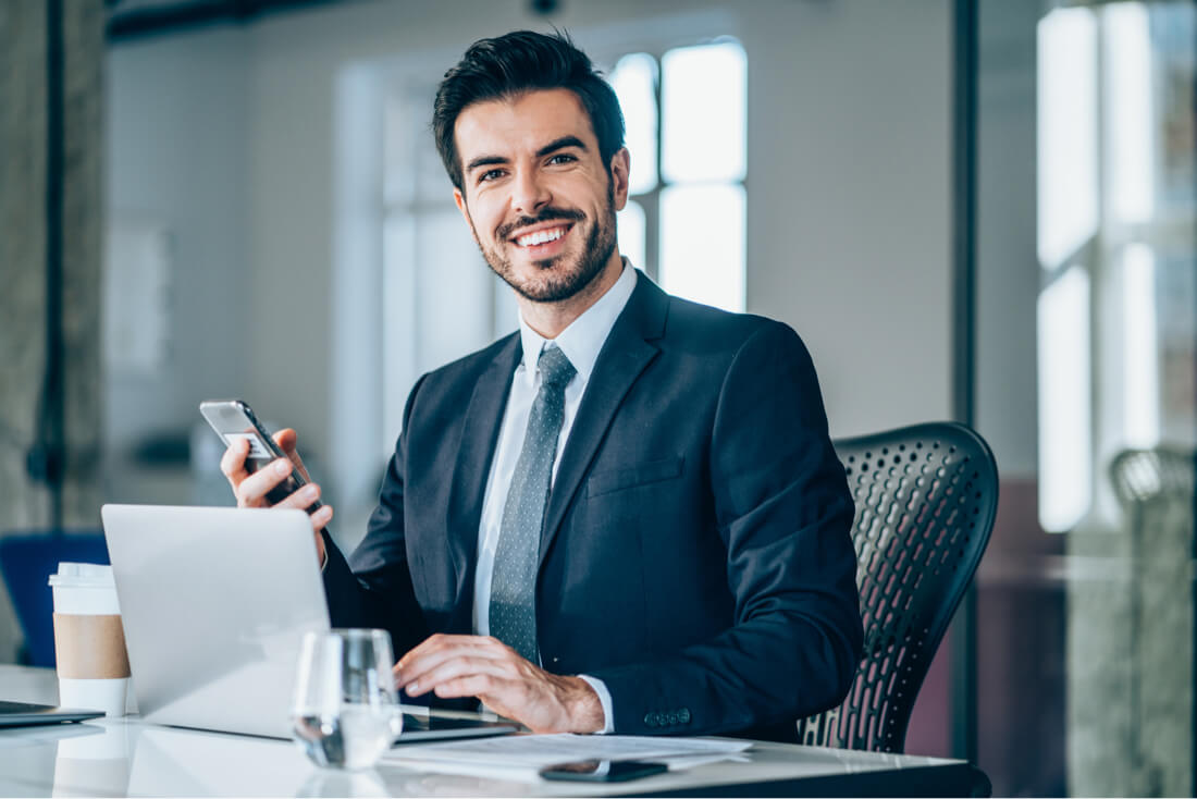 Young business man working clauses