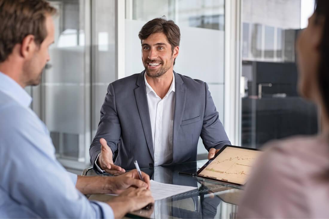 Recruiter man testing new employee