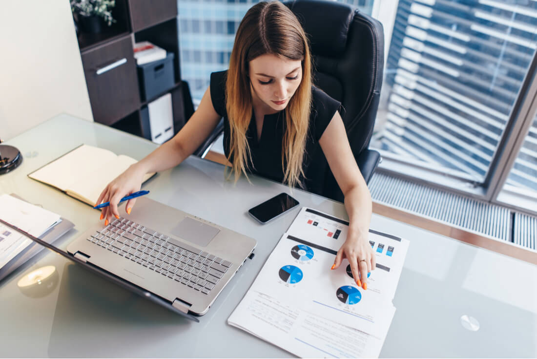 Financial woman working on bank loans