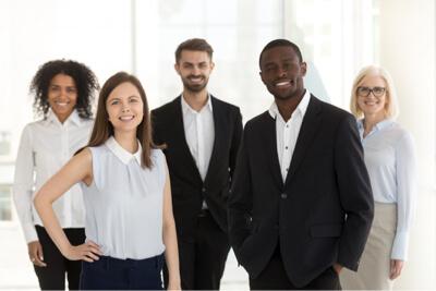 Diverse team staff smiling