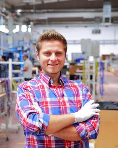Male working in factory