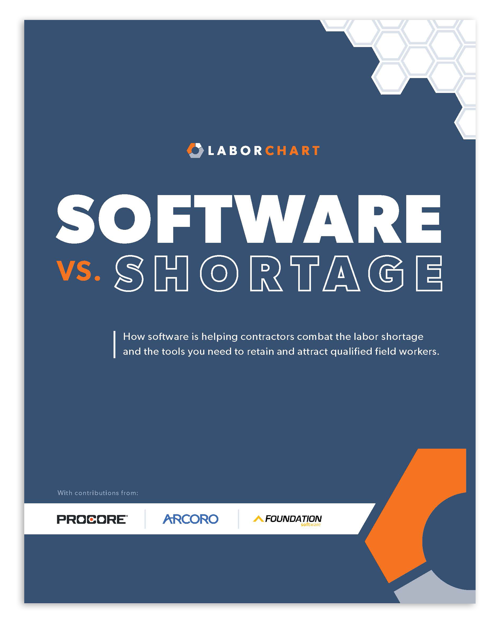 Software vs. Shortage white paper cover by LaborChart and with contributions from Procore, Arcoro and Foundation software.