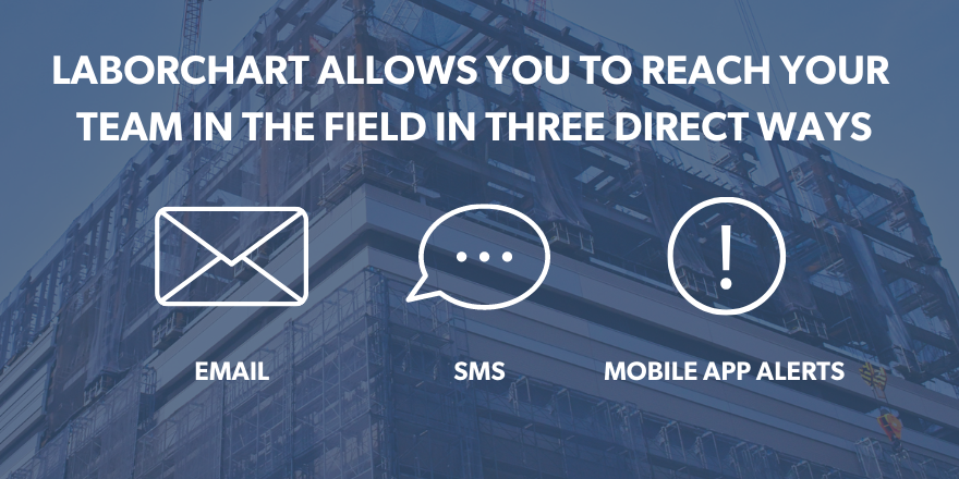 Three direct ways to reach your team in the field using LaborChart: Email, SMS, Mobile App Alerts