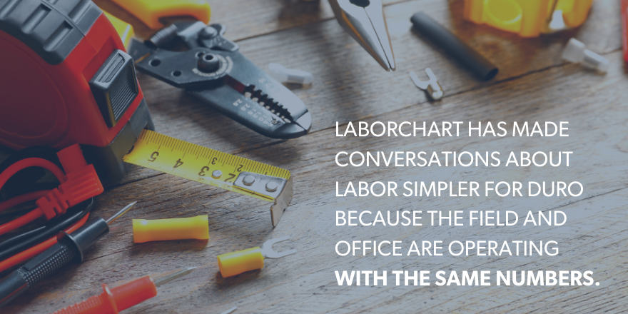 "An image of various tools with the text ""LaborChart has made conversations about labor simpler for Duro because the field and office are operating with the same numbers."""
