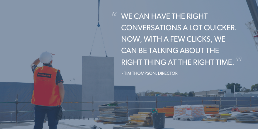 "A construction worker looking into the distance with a quote overlying the image that says ""we can have the right conversations a lot quicker. Now, with a few clicks, we can be talking about the right thing at the right time."""