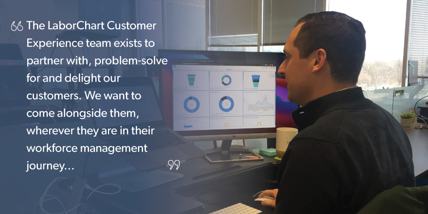 A quote overlying an image of Jared Schnefke, Director of Customer Experience.