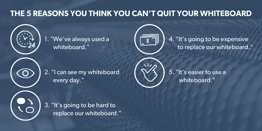 graphic image of the 5 reasons you think you can't quit your whiteboard