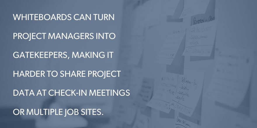 An image with text saying: whiteboards can turn project managers into gatekeepers, making it harder to share project data at checkin meetings or multiple job sites.